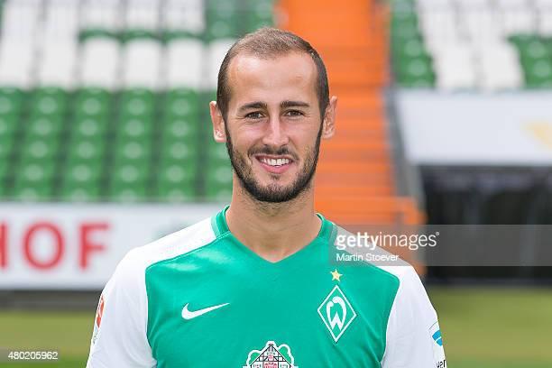 Alejandro Galvez poses during the official team presentation of Werder Bremen at Weserstadion on July 10 2015 in Bremen Germany