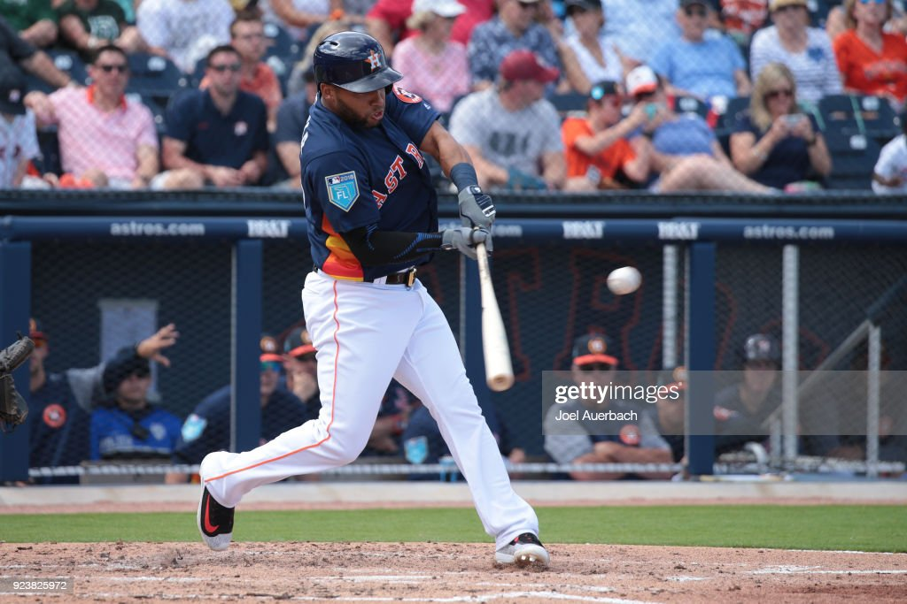 Alejandro Garcia #75 of the Houston Astros hits the ball against the Atlanta Braves during a spring training game at The Ballpark of the Palm Beaches on February 24, 2018 in West Palm Beach, Florida.