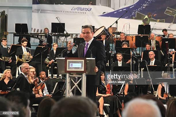 Alejandro Garcia Padilla Governor of Puerto Rico talks as part of Grand Opening of Lufthansa Technik Puerto Rico on November 1 2015 in Aguadilla...