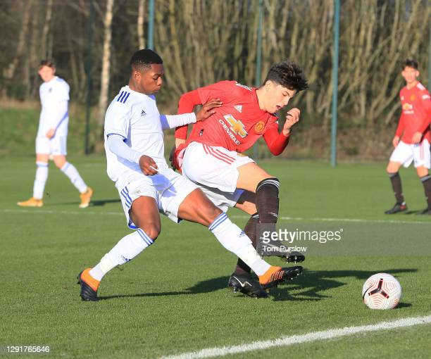 Alejandro Garnacho of Manchester United U18s in action during the U18 Premier League match between Manchester United U18s and Leeds United U18s at...