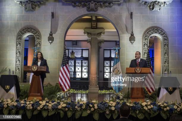 Alejandro Giammattei, Guatemala's president, right, speaks beside U.S. Vice President Kamala Harris at the National Palace in Guatemala City,...
