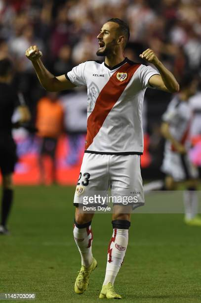 Alejandro Gálvez of Rayo Vallenco celebrates after winning the La Liga match between Rayo Vallecano de Madrid and Real Madrid CF at Campo de Futbol...
