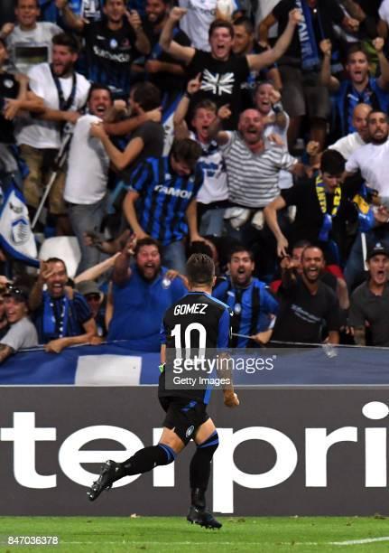 Alejandro Gómez of Atalanta celebrates after scoring the 20 goal during the UEFA Europa League group E match between Atalanta and Everton FC at...