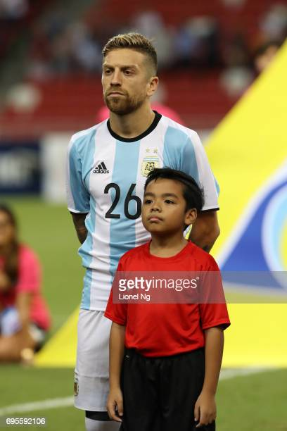 Alejandro Gomez of Argentina looks on before the international friendly match between Argentina and Singapore at National Stadium on June 13 2017 in...