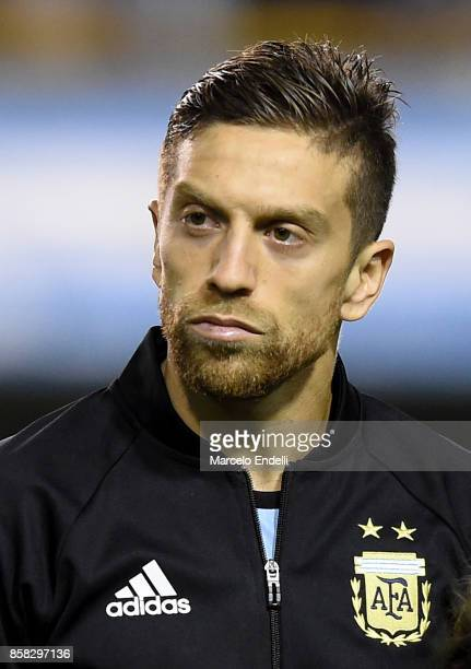 Alejandro Gomez of Argentina looks on prior to a match between Argentina and Peru as part of FIFA 2018 World Cup Qualifiers at Estadio Alberto J...