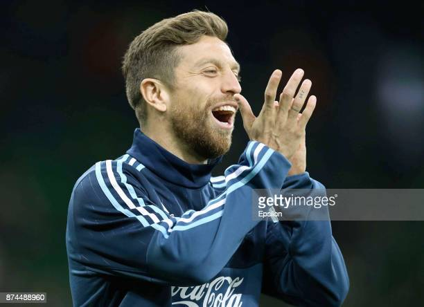 Alejandro Gomez of Argentina reacts prior an international friendly match between Argentina and Nigeria at Krasnodar Stadium on November 14 2017 in...