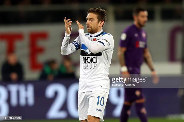 Alejandro Gomez of Atalanta BC celebrates after scoring the opening goal during the Coppa Italia match between ACF Fiorentina and Atalanta BC on...