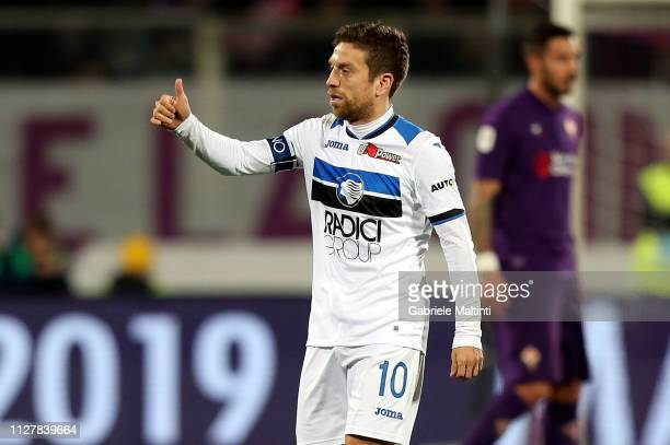 Alejandro Gomez of Atalanta BC celebrates after scoring the opening goal during the Coppa Italia match between ACF Fiorentina and Atalanta BC on...