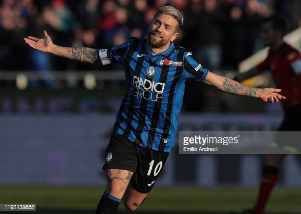 Alejandro Gomez of Atalanta BC celebrates after scoring the opening goal during the Serie A match between Atalanta BC and Parma Calcio at Gewiss...