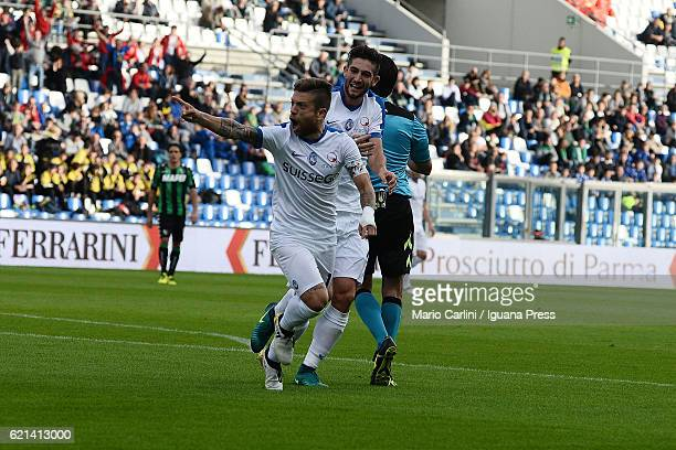 Alejandro Gomez of Atalanta BC celebrates after scoring the opening goal during the Serie A match between US Sassuolo and Atalanta BC at Mapei...