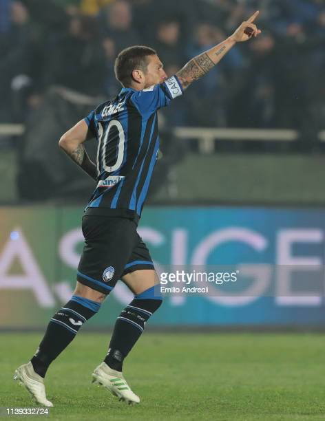 Alejandro Gomez of Atalanta BC celebrates after scoring the second goal of his team during the TIM Cup match between Atalanta BC and ACF Fiorentina...