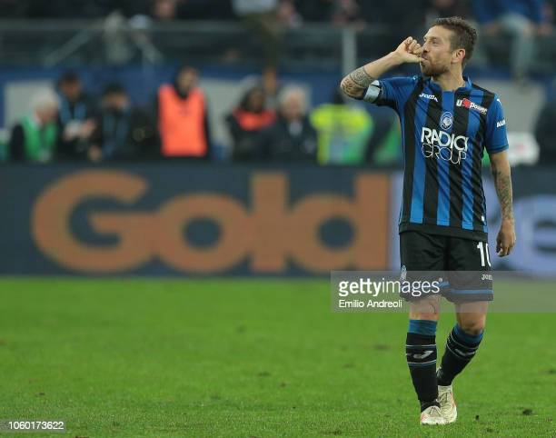 Alejandro Gomez of Atalanta BC celebrates his goal during the Serie A match between Atalanta BC and FC Internazionale at Stadio Atleti Azzurri...