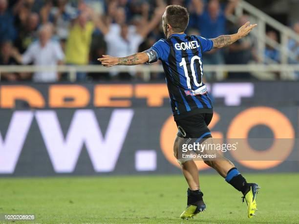 Alejandro Gomez of Atalanta BC celebrates his second goal during the serie A match between Atalanta BC and Frosinone Calcio at Stadio Atleti Azzurri...