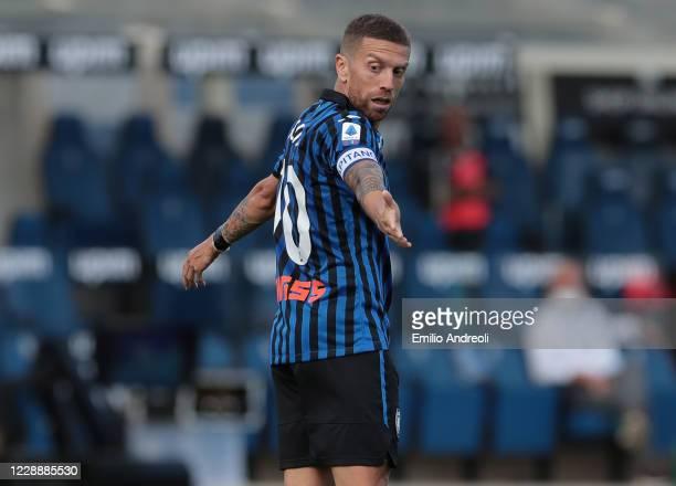 Alejandro Gomez of Atalanta BC gestures during the Serie A match between Atalanta BC and Cagliari Calcio at Gewiss Stadium on October 4, 2020 in...