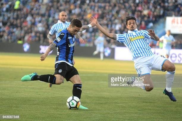 Alejandro Gomez of Atalanta BC in action the goal during the serie A match between Spal and Atalanta BC at Stadio Paolo Mazza on April 7 2018 in...