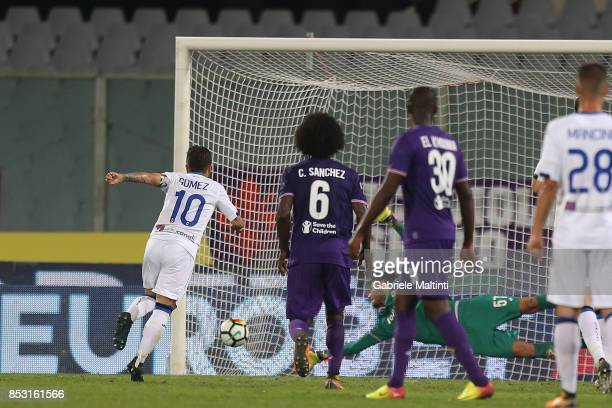 Alejandro Gomez of Atalanta BC misses a penalty during the Serie A match between FC Crotone and Benevento Calcio at Stadio Artemio Franchi on...