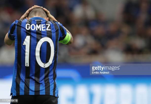 Alejandro Gomez of Atalanta BC reacts after misses a chance of a goal during the UEFA Champions League group C match between Atalanta and Shakhtar...