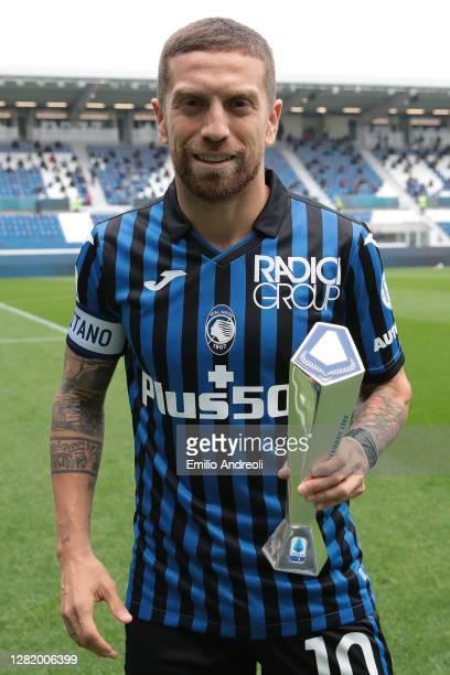 Alejandro Gomez of Atalanta BC receives the MVP of the month September prize prior to the Serie A match between Atalanta BC and UC Sampdoria at...