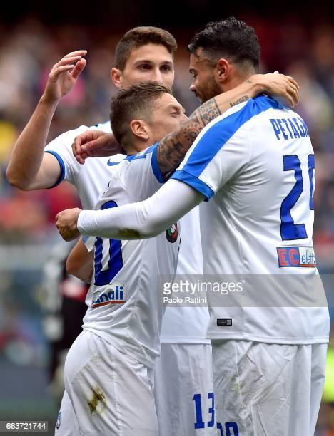 Alejandro Gomez of Atalanta celebrates after scoring penalty 02 during the Serie A match between Genoa CFC and Atalanta BC at Stadio Luigi Ferraris...