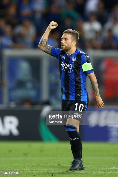 Alejandro Gomez of Atalanta celebrating after the goal of 30 during the UEFA Europa League Group E football match Atalanta vs Everton at The Stadio...