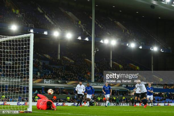 Alejandro Gomez of Atalanta has his penalty save by Joel Robles of Everton during the UEFA Europa League group E match between Everton FC and...
