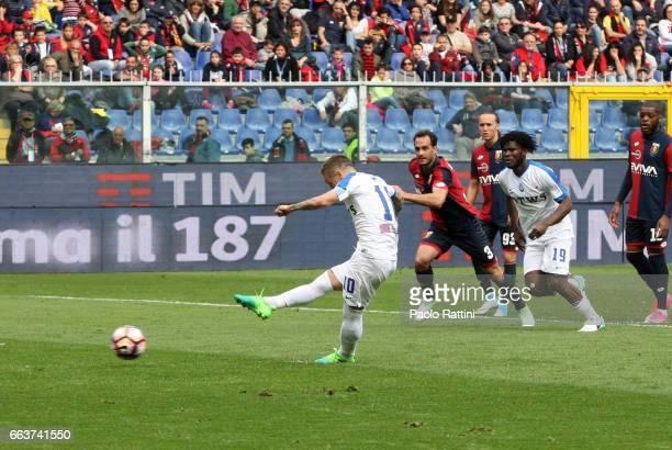 Alejandro Gomez of Atalanta penalty 02 during the Serie A match between Genoa CFC and Atalanta BC at Stadio Luigi Ferraris on April 2 2017 in Genoa...