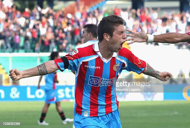 Alejandro Gomez of Catania Calcio celebrates his goal during the Serie A match between Catania Calcio and SSC Napoli at Stadio Angelo Massimino on...