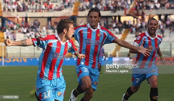 Alejandro Gomez of Catania Calcio celebrates his gola during the Serie A match between Catania Calcio and SSC Napoli at Stadio Angelo Massimino on...