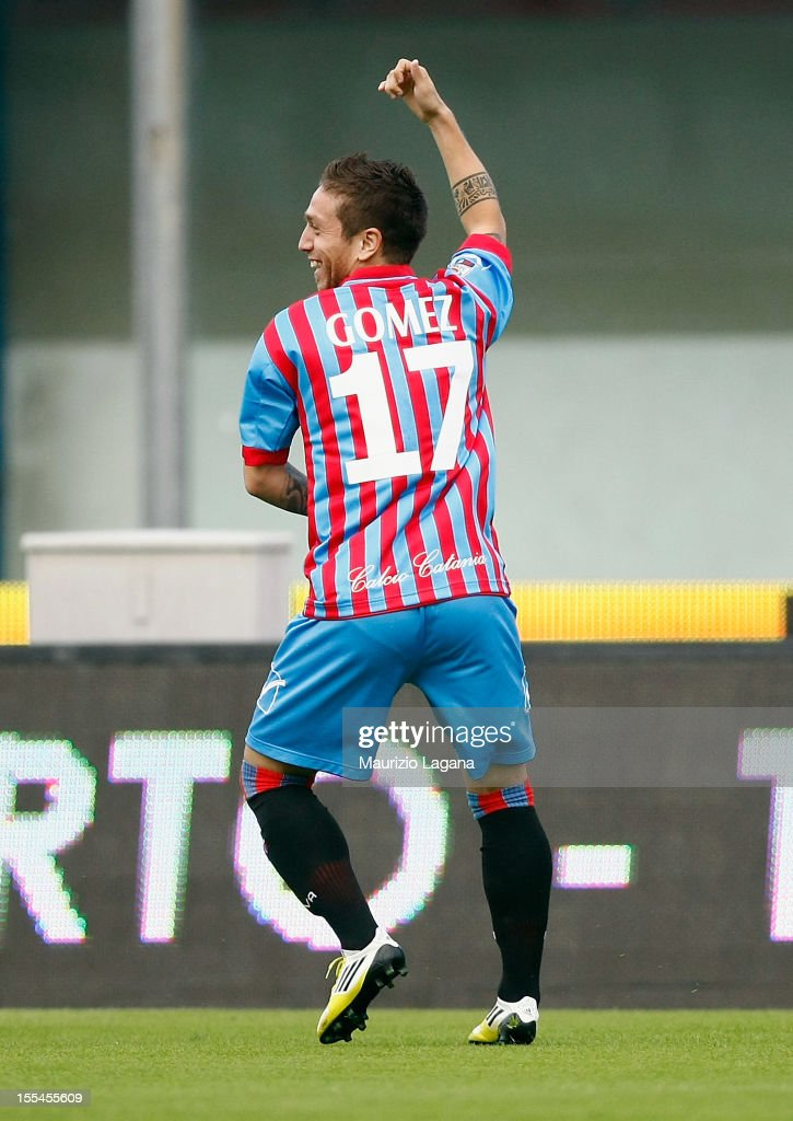 Alejandro Gomez of Catania celebrates after scoring the opening goal during the Serie A match between Calcio Catania and S.S. Lazio at Stadio Angelo Massimino on November 4, 2012 in Catania, Italy.