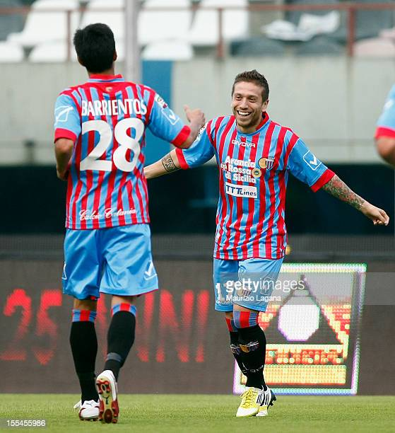 Alejandro Gomez of Catania celebrates after scoring the opening goal during the Serie A match between Calcio Catania and SS Lazio at Stadio Angelo...