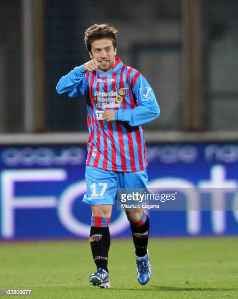 Alejandro Gomez of Catania celebrates after scoring the opening goal during the Serie A match between Calcio Catania and Udinese Calcio at Stadio...