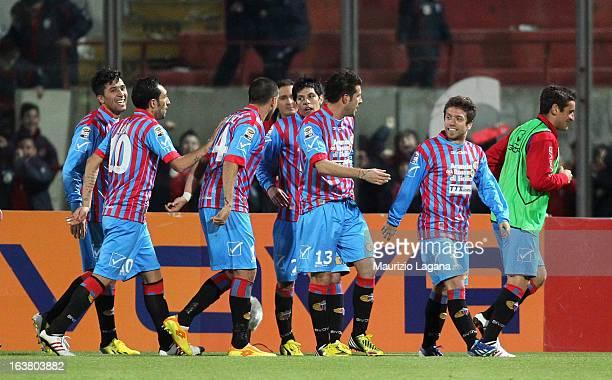 Alejandro Gomez of Catania celebrates his second goal during the Serie A match between Calcio Catania and Udinese Calcio at Stadio Angelo Massimino...