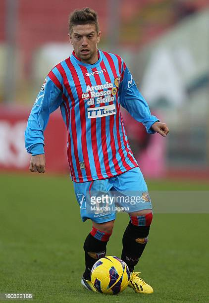Alejandro Gomez of Catania in action during the Serie A match between Calcio Catania and ACF Fiorentina at Stadio Angelo Massimino on January 27,...