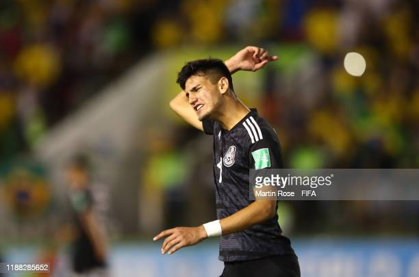 Alejandro Gomez of Mexico reacts after his side concede a penalty during the Final of the FIFA U17 World Cup Brazil 2019 between Mexico and Brazil at...