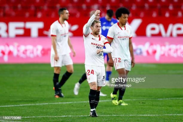 Alejandro Gomez of Sevilla FC celebrates after scoring their team's second goal during the La Liga Santander match between Sevilla FC and Getafe CF...