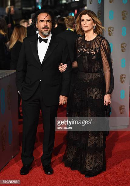 Alejandro Gonzalez Inarritu and Maria Eladia Hagerman attend the EE British Academy Film Awards at the Royal Opera House on February 14 2016 in...