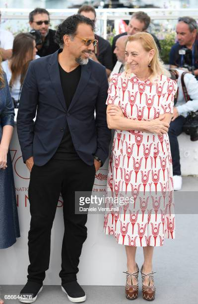 Alejandro Gonzalez Inarritu and Miuccia Prada attend the 'Carne Y Arena' photocall during the 70th annual Cannes Film Festival at Palais des...