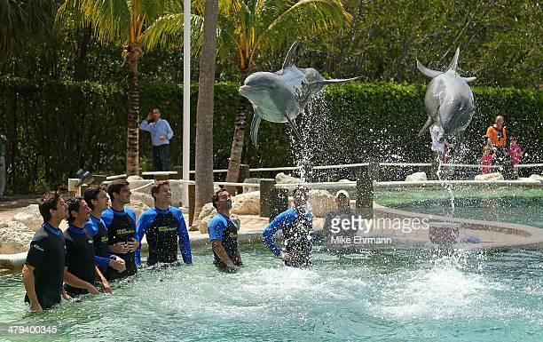 Alejandro Gonzalez of Colombia, Pablo Carreno Busta of Spain, Federico Delbonis of Argentina, Fabio Fognini of Italy, and Tommy Robredo of Spain swim...