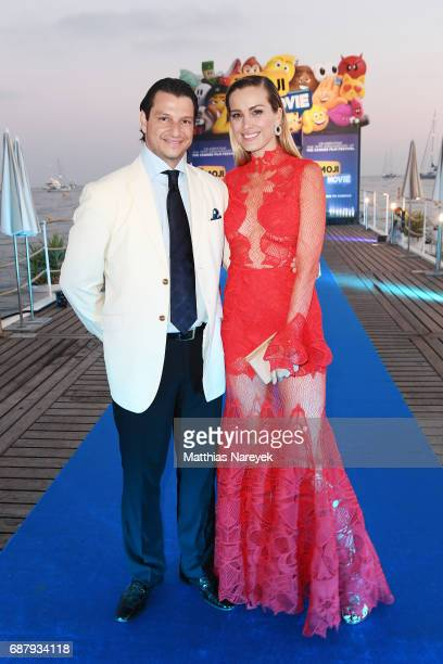 Alejandro Grimaldi and Petra Nemcova attend the Generous People 5th Anniversary Party during the 70th annual Cannes Film Festival at Martinez Pier on...