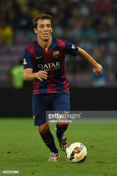Alejandro Grimaldo of FC Barcelona in action during the preseason friendly match between FC Barcelona and SSC Napoli on August 6 2014 in Geneva...
