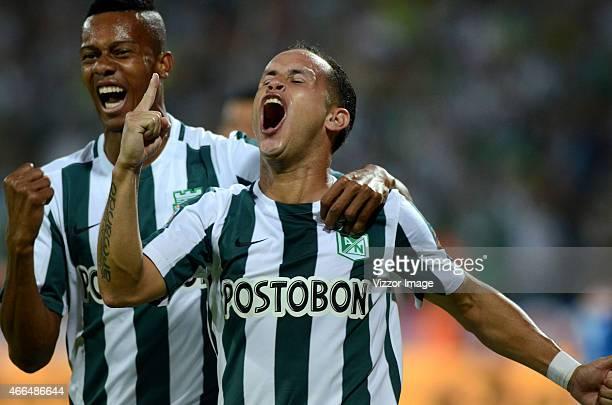 Alejandro Guerra of Atletico Nacional celebrates a scored goal to Deportivo Independiente Medellin during a match between Atletico Nacional and...