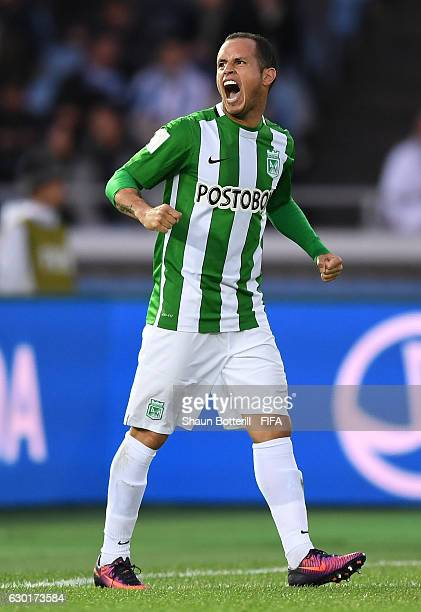 Alejandro Guerra of Atletico Nacional celebrates scoring his sides second goal during the FIFA Club World Cup 3rd Place match between Club America...