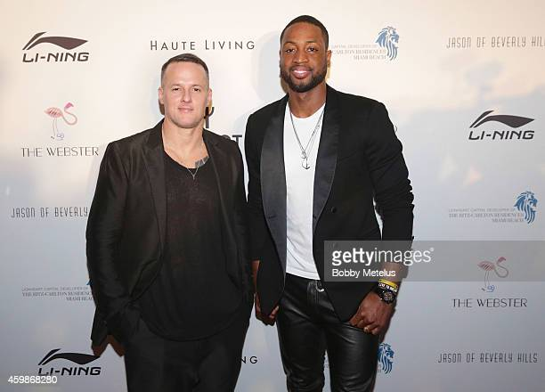 Alejandro Ingelmo and Dwyane Wade attends Haute Living and The Webster event hosted by Dwyane Wade and footwear desinger Alejandro Ingelmo during Art...