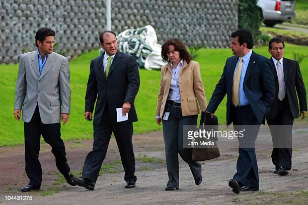 Alejandro Irarragorri President of Santos Laguna and Carlos Fernandez President of Grupo Modelo arrive for a press conference to announce an alliance...
