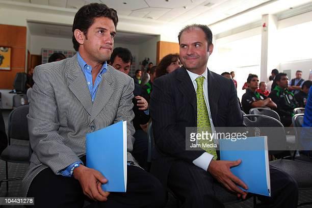 Alejandro Irarragorri President of Santos Laguna and Carlos Fernandez President of Grupo Modelo during a press conference to announce an alliance...