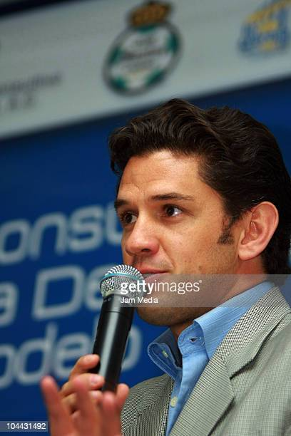 Alejandro Irarragorri President of Santos Laguna speaks during a press conference to announce an alliance between Grupo Modelo and Water Advisory...