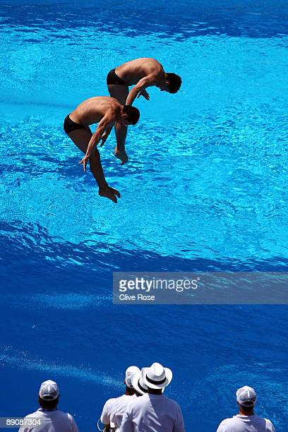 Alejandro Islas and Jonathan Ruvalcaba of Mexico compete in the 3m Mens Synchronised Diving Preliminary Round at the Stadio del Nuoto on July 18 2009...