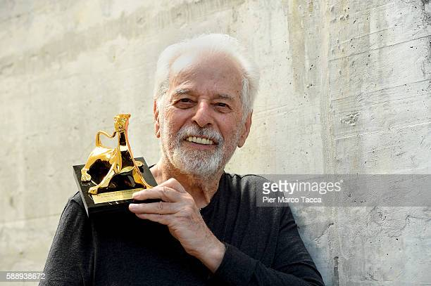 Alejandro Jodorowsky poses with the Pardo of Honor during the 69th Locarno Film Festival on August 12 2016 in Locarno Switzerland