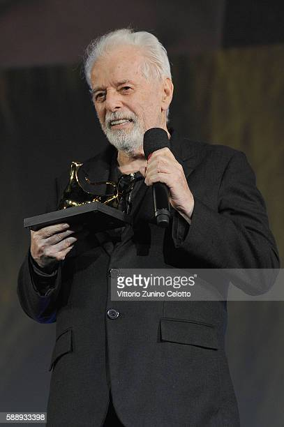 Alejandro Jodorowsky poses with the Pardo of Honour Swisscom during the 69th Locarno Film Festival on August 3 2016 in Locarno Switzerland