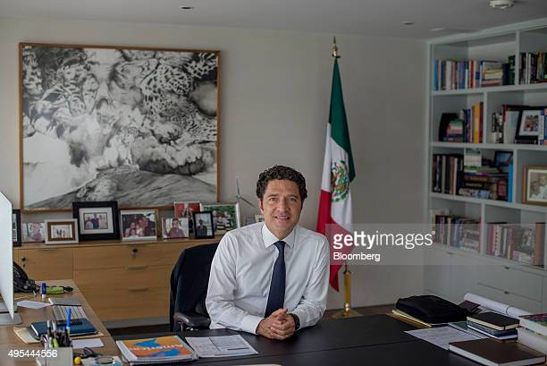 Alejandro Legorreta chief executive officer of Sabino Capital poses for a photograph at his office desk in Mexico City Mexico on Wednesday Oct 14...